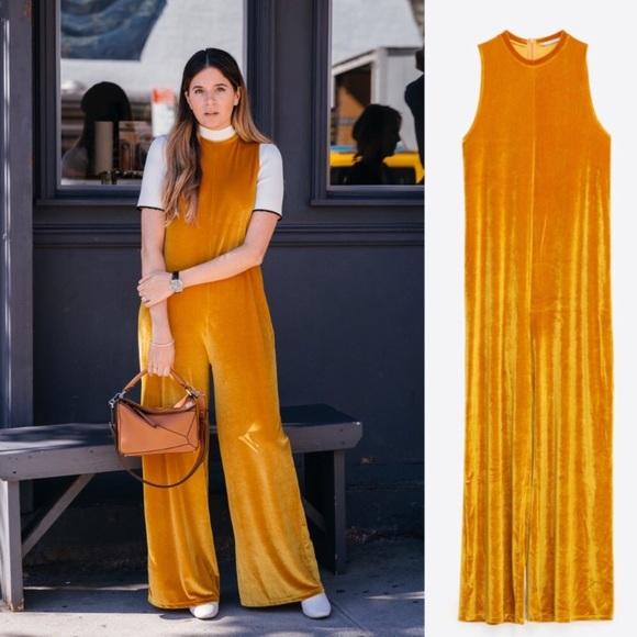 d5764b62 Zara yellow mustard velvet jumpsuit